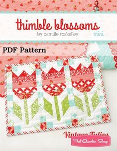 Vintage Tulips MINI Downloadable PDF Quilt Pattern<br/>Thimble Blossoms