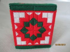 boutique tissue box cover in red white & green with by CraftyLore, $10.00