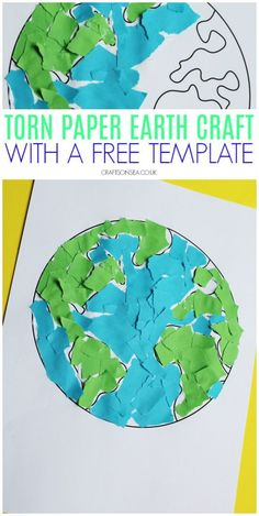 Torn Paper Earth Craft Torn Paper Earth Craft - fine motor skills for the Er . - Torn Paper Earth Craft Torn Paper Earth Craft – fine motor skills for Earth Day # Pre - Kids Crafts, Recycled Crafts Kids, Toddler Crafts, Preschool Crafts, Science Crafts, Recycled Art, Earth Day Activities, Spring Activities, Craft Activities