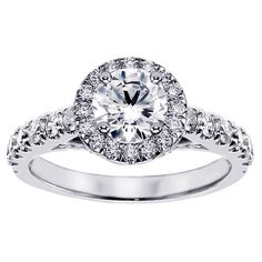 14k or 18k White Gold 2 2/5ct TDW Brilliant-cut Large Diamond Engagement Ring (G-H, SI1-SI2) (18k Gold - Size 8.5), Women's