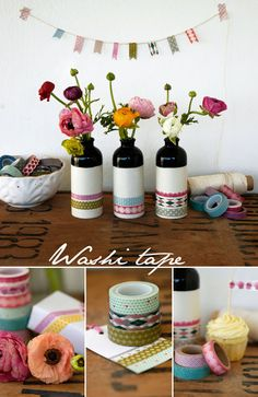 Why haven't I heard about this washi tape stuff before now? Washi tape vases and bunting Cinta Washi Tape, Masking Tape, Duct Tape, Washi Tape Crafts, Paper Crafts, Diy Crafts, Washi Tapes, Adult Crafts, Creation Deco