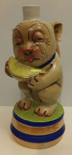 1920's BONZO Dog PORCELAIN FIGURAL LIQUOR BOTTLE Decanter MUSIC BOX Studdy as-is
