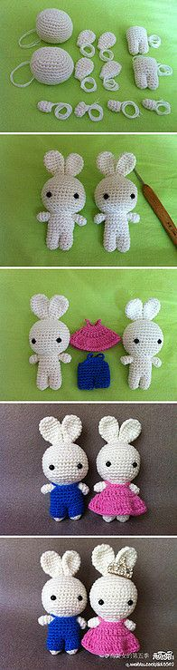 DIY bunny boy and girl ❥Teresa Restegui http://www.pinterest.com/teretegui/❥