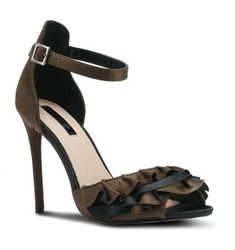 Khaki sandal heels with a hint of black running through the ruffle. Pair them with your fav jeans for a head to toe glam look. Head To Toe, Spring Summer, Pairs, Boutique, Sandals, Heels, Black, Fashion, Slide Sandals