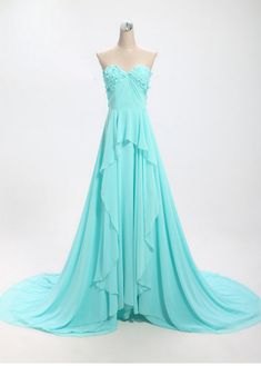 Elegant Blue Sweetheart Long Prom Dresses , Prom Gowns, Evening Gowns, Formal dresses