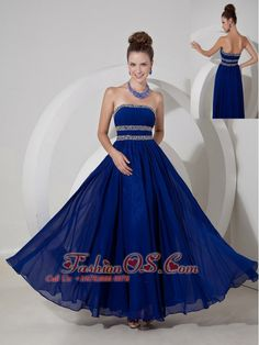 Royal Blue Empire Strapless Prom Dress Chiffon Beading- $146.23  http://www.fashionos.com  http://www.facebook.com/prom.fashionos.us  This beautiful prom dress features a pretty strapless bodice with a straight neckline.The symmetric beadings on the bodice is special for the dress. The floor-length skirt create a beautiful shape to complete the dress. You will be a focus in the party.