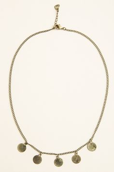 Brandy ♥ Melville | Antique Gold Circle Charm Necklace - Accessories