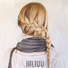 girl with waterfall side braid drawing