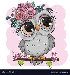 Cartoon Owl Drawing, Cute Owl Drawing, Cute Owl Cartoon, Cute Drawings, Owl Drawing Color, Owl Artwork, Owl Clip Art, Branch Vector, Owl Illustration
