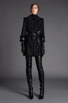 "fashion-boots: ""Andrew Gn Black Leather Crotch High Boots and Leather Gloves, from the Pre Fall 2012 Look Book. Classy Outfits, Pretty Outfits, Crotch Boots, Gloves Fashion, Fashion Boots, Thigh High Boots Heels, Knee Boots, Vogue Mexico, Fashion Show"