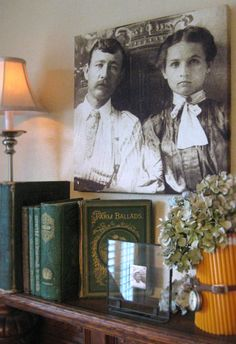 Heritage Photos on Canvas ~ A nice idea for displaying antique images in a contemporary format. Display Family Photos, Old Family Photos, Old Photos, Vintage Photos, Antique Photos, Family Pictures, Photo Touch Up, Photo Canvas, Photos On Canvas