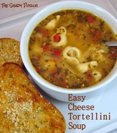 I love making soups. The possibilities for variety and change - even within a single recipe are wonderful. The hubby is a huge fan of Cheese Tortellini in chicken broth. He sprinkles a little garlic p