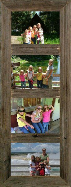 Rustic Reclaimed (4) 4 x 6 or 5 x 7 Panel Barnwood Picture Collage Frame