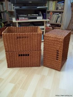 Basketry paper - the trick perfectly shaped basket Cardboard Furniture, Wicker Furniture, Baskets On Wall, Wicker Baskets, Magazine Crafts, Crochet Basket Pattern, Sewing Baskets, Paper Basket, How To Make Diy