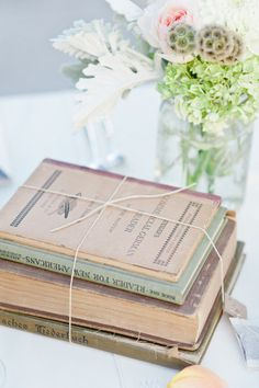 Old Books Tied with String Wedding Decor