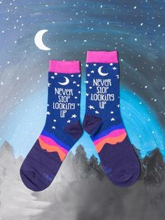 Cosmos Socks for Women | The Sock Drawer Starry Night Sky, Night Skies, Word Up, Stargazing, Looking Up, Cosmos, Catwalk, Fit Women, Drawer