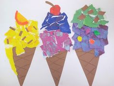 Masterpiece Art partner did this Theibaud inspired project with our girls' grade class. The kids LOVED making ice cream cones! Art 2nd Grade, 2nd Grade Class, Grade 1, Art Carton, Hand Kunst, Arte Elemental, Tears Art, Classe D'art, Ice Cream Art
