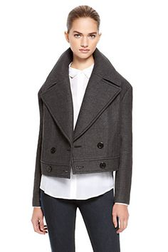 Oversized Lapels are trending this winter. Pair this DKNY Runway Double Breasted Jacket in gray with a white collared shirt and Lisette Skin Leg Pant with Side Zip Style 1659 in charcoal | winter style | jacket trends | winter fashion