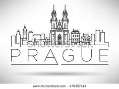 Minimal Vector Prague City Linear Skyline with Typographic Design