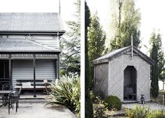 Ellis House Kyneton - garden hut made from lattice, dappled light inside