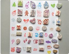 Christmas hand carved rubber stamps by Memi The Rainbow, via Flickr
