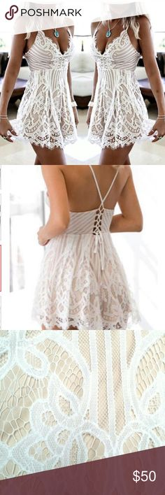 💠💠NEW BOUTIQUE💠💠 LACE SUMMER ROMPER This romper is an absolute must for this summer! The beautiful lace will make you fall and love and be the center of attention! 💠                                            It does run a little small but they do have some stretch to them!                         💠💠Will be getting size small and xsmall in soon💠💠 Dresses