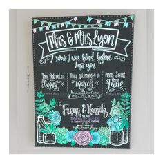 The perfect keepsake of the wedding day - a Story of Us hand lettered chalkboard.  Tell your story with personalised details such as when you first met, when you got engaged, first home - any details can be included! This is hand painted so I can accomodate almost any request.  Each one is totally unique as I work with my customers to create a bespoke piece. Ideal as a wedding gift (as long as you are prepared to do some detective work to find out the special dates!) or even to go on display…