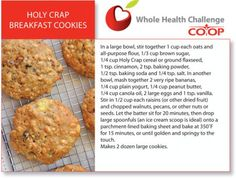Holy Crap Breakfast Cookies - made with the world's healthiest cereal! They're in the oven as I type this...