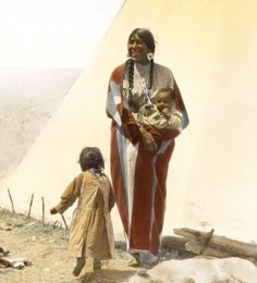 """Coming Running"". Blackfeet Woman With Children. Montana. Early 1900s. Glass Lantern Slide By W 