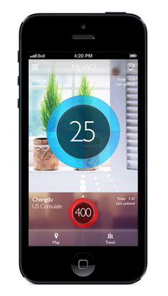 The Smart Air Purifier working with an iPhone, displaying the air quality via the smartphone's display.