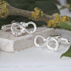 Silver Infinity Twig Cufflinks, Grooms Wedding Cufflinks
