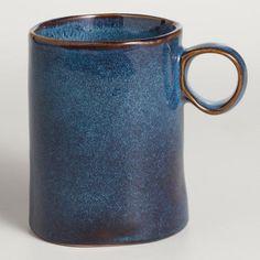 Indigo Reactive Glaze Mugs, Set of 2