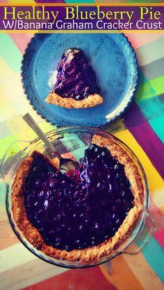 Healthy Blueberry Pie, With Banana Graham Cracker Crust!