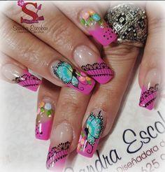 Bling Nails, Diy Nails, Stylish Nails, Trendy Nails, Beauty Make Up, Hair Beauty, Butterfly Nail Designs, Nail Art Techniques, Celebrity Nails