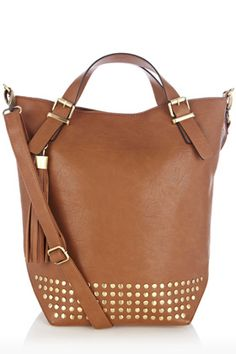 leather tote with a touch of studs
