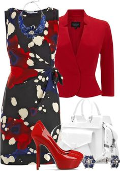"#Modest doesn't mean frumpy. #DressingWithDignity www.ColleenHammond.com www.TotalimageInstitute.com  ""Red, White and Blue"" by brendariley-1 ❤ liked on Polyvore"