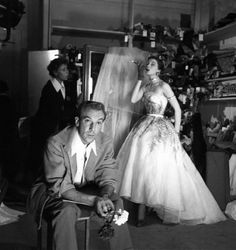 Jacques Fath in studio with top model Bettina.Photo by Louis Dahl-Wolfe