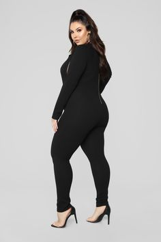 Cut That Out Jumpsuit - Black Maternity Tunic, Big Girl Fashion, Romper Outfit, Plus Size Girls, Casual Tops For Women, Plus Size Model, Black Jumpsuit, Gorgeous Women, Plus Size Outfits