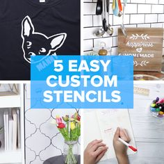 5 Easy Custom Stencil Projects #DIY #creative #shirt #stencil #journal
