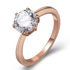 Will you... Follow Us on Pinterest? And Shop on Our Site? ;)   Large solitaire crystal stone in a rose gold plated plated simple ring setting