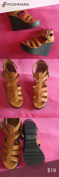 Nwot Super Cute Caged wedges Brand new never worn. Cool ripple sole. 4.5 heel, 1.25 platform. 100% vegan but really looks like leather. Dont Don't miss out Bamboo Shoes Wedges