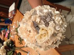 This is a good idea for the wedding! Broach bouquet - made with artificial flowers