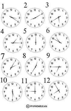 La hora actividad Mental Maths Worksheets, Writing Practice Worksheets, Spanish Worksheets, Spanish Teaching Resources, School Worksheets, Math Activities, French Language Lessons, English Lessons, Telling Time In Spanish