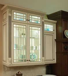 Covered Bridge Cabinetry- Two Toned French Style Kitchen City Farmhouse, Glass Front Cabinets, First Kitchen, French Country Style, Kitchen Cabinetry, Kitchen Ideas, Bridge, Traditional, Wood