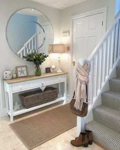 Get inspired by Cottage Country Foyer Design photo by Wayfair Inspirations. Wayfair lets you find the designer products in the photo and get ideas from thousands of other Cottage Country Foyer Design photos. Entrance Hall Decor, Hallway Ideas Entrance Narrow, Modern Hallway, Country Hallway Ideas, Hallway Tables, Ikea Hallway, Hallway Decorations, Entrance Halls, Upstairs Hallway