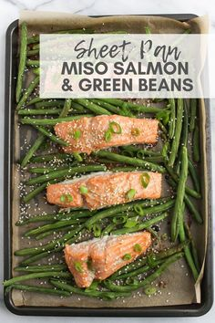 Sheet Pan Miso Salmon & Green Beans - A simple one pan dinner solution. Salmon glazed with miso (fermented beans) is an ingredient that has probiotics, which supports gut health. via RDelicious Kitchen Healthy Weeknight Dinners, Healthy Dinner Recipes, Meal Recipes, Quick Easy Meals, Healthy Cooking, One Pan Dinner, Dinner Meal, Cook Dinner, Fish Recipes
