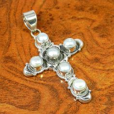 Pearl 925 Solid Sterling Silver Pendnat 6.79g SJP-0227 #Handmade #Pendant