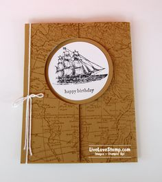 Stamps: World Map; The Open Sea; Teeny Tiny Wishes  Ink & Paper: Baked Brown Sugar; Whisper White; Basic Black Accessories: Circle card Thinlits Die; Baker's Twine