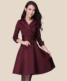 Elegant Lapel A-Line Knee Length 3/4 Sleeve OL Dress