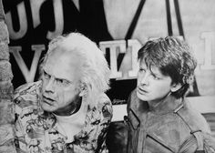Pencil drawing of Michael J. Fox and Christopher Lloyd (Back to the Future).